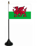 Wales Desk / Table Flag with plastic stand and base.